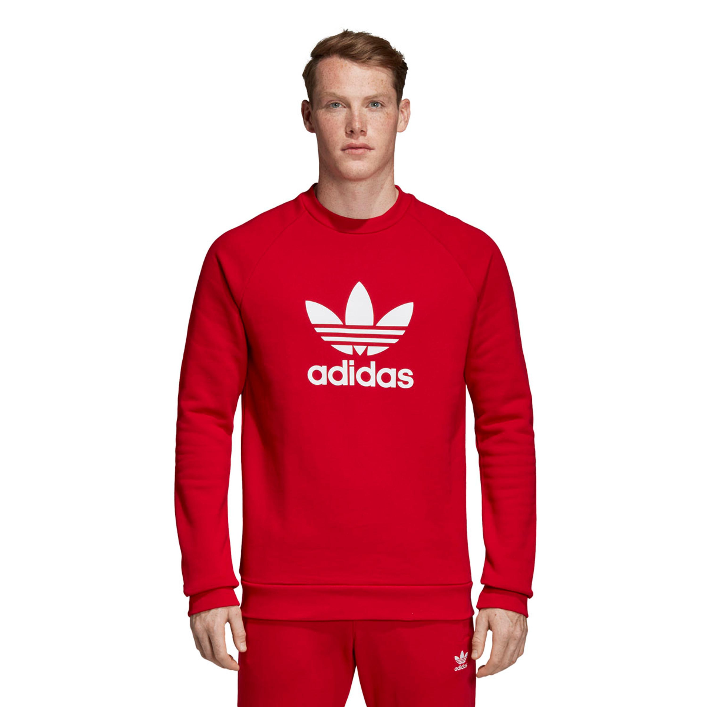 Adidas Warmup Trefoil Crewneck Sweatshirt für Herren in rot