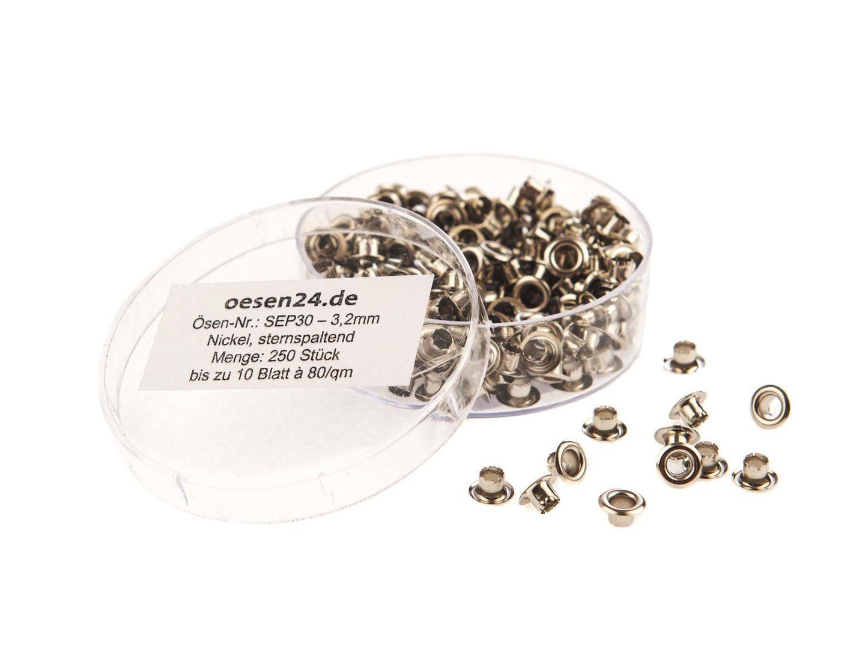 250 Ösen SEP30-3.2mm, vernickelt f. kangaro® EP-20, EP-30 & LGI Ösenstanze - sternspaltend – Bild 1