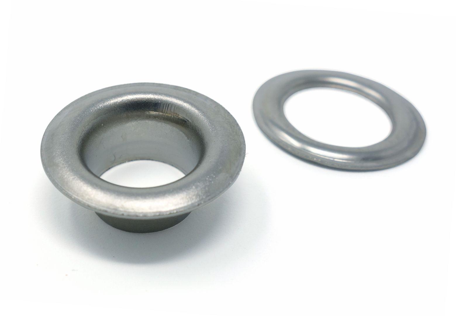 100 x selbstlochende Ösen mit langem Schaft (ca. 9,0 mm) und Scheibe (rostfrei) für Ösenpressen und Einschlagwerkzeuge – Bild 3