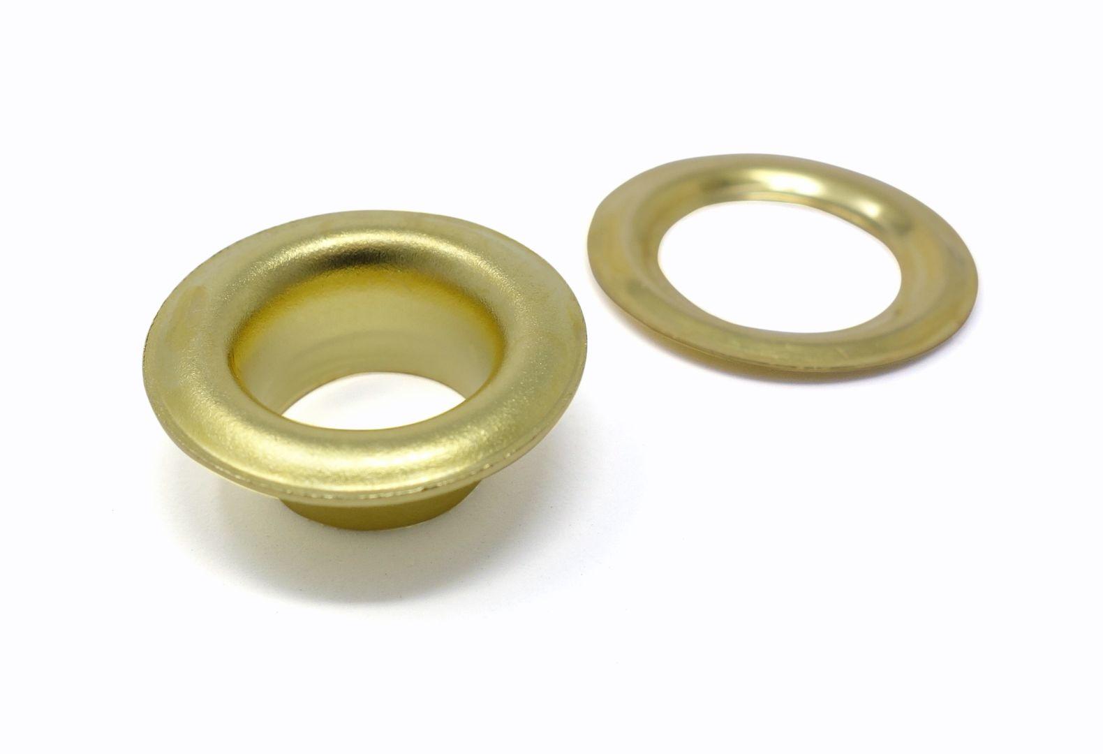 100 x selbstlochende Ösen mit extra langem Schaft (ca. 12,0 mm) und Scheibe (rostfrei) für Ösenpressen und Einschlagwerkzeuge – Bild 1