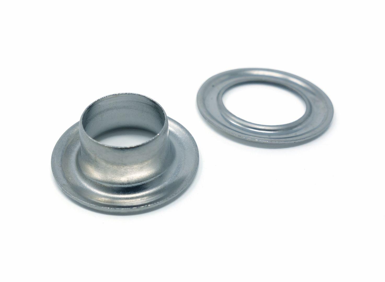 9,2 mm selbstlochende Ösen mit extra langem Schaft 12,0 mm und mit Scheibe (rostfrei) für Ösenpressen und Einschlagwerkzeuge – Bild 4