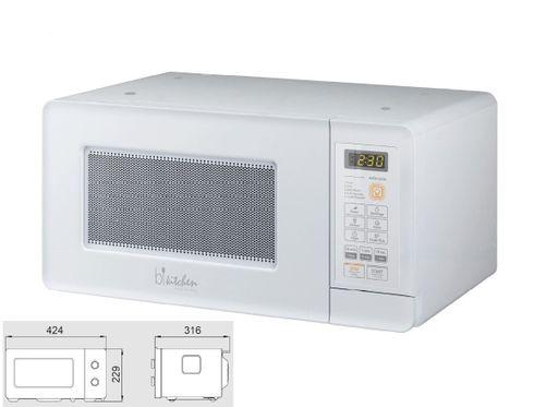 bkitchen mini 200 weiss Unterbau Mikrowelle 600W, Elektronik, 15l, weiß, Glasdrehteller (Ø 25,5 cm), Mikrowellenherd