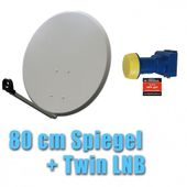 Satspiegel 80 cm hellgrau + Twin LNB Set