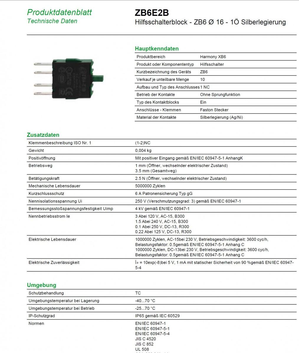 Schneider electric zb6 e2b hilfskontakt silberlegiert 1 for Maschinenbau ohne nc