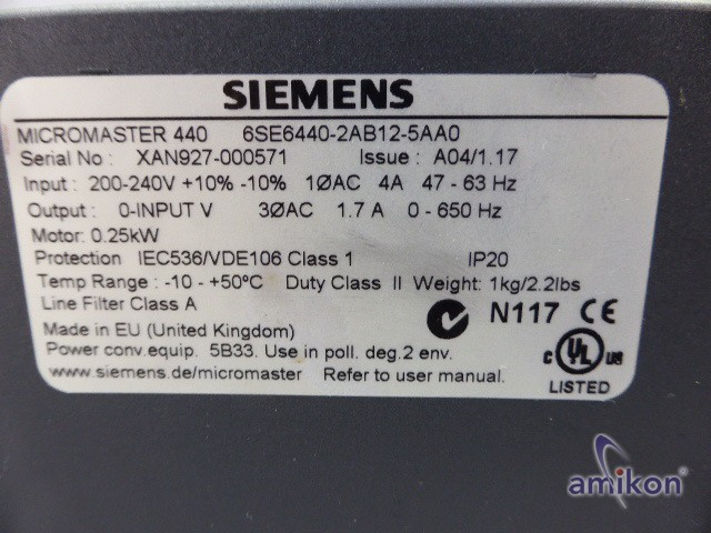 Siemens Micromaster 440 6SE6440-2AB12-5AA0 6SE6 440-2AB12-5AA0 ohne Bedienteil  Hover