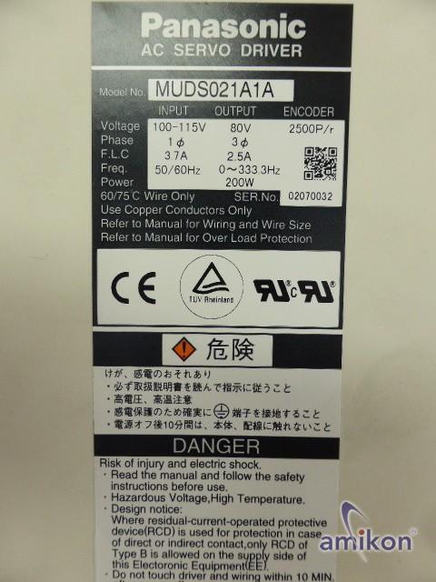 Panasonic Servo Drive MUDS021A1A  Hover