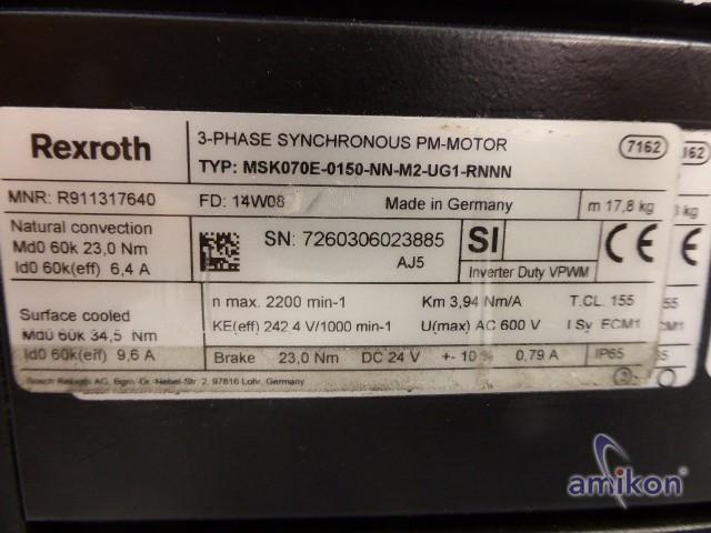 Bosch Rexroth Permanent Magnet Servo Motor 3-Phase MSK070E-0150-NN-M2-UG1-RNNN  Hover