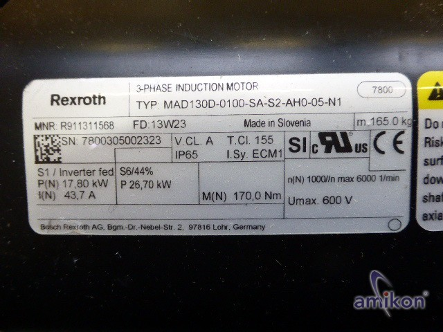 Rexroth 3-Phase Induktions Motor R911311568 MAD130D-0100-SA-S2-AH0-05-N1  Hover