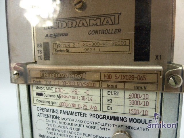 Indramat A.C. Servo Controller TDM 2.1-30-300-W0-So101  Hover