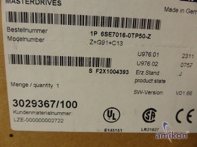 Siemens Simovert Masterdrives MC 6SE7016-0TP50-Z G91+C13 neu !  Hover