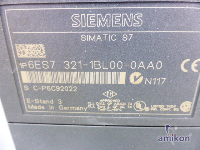 Siemens Simatic S7 Digitaleingabe 6ES7321-1BL00-0AA0 E-Stand 3  Hover