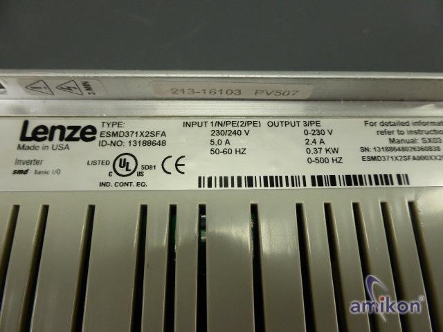 Lenze Inverter ESMD371X2SFA 0.37 KW 3PH 230/240V  Hover