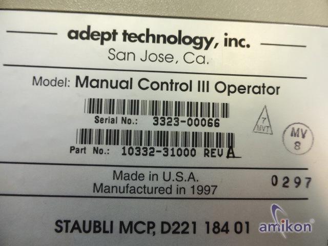 Adept Teachpendant Manual Controll III Operator 10332-31000 3323-00066 neu !  Hover