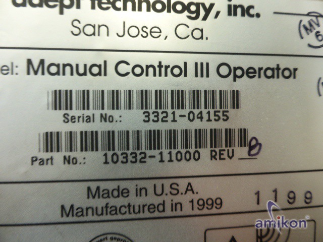 Adept Teachpendant Manual Controll III Operator Part No. 10332-11000 3321-04155  Hover