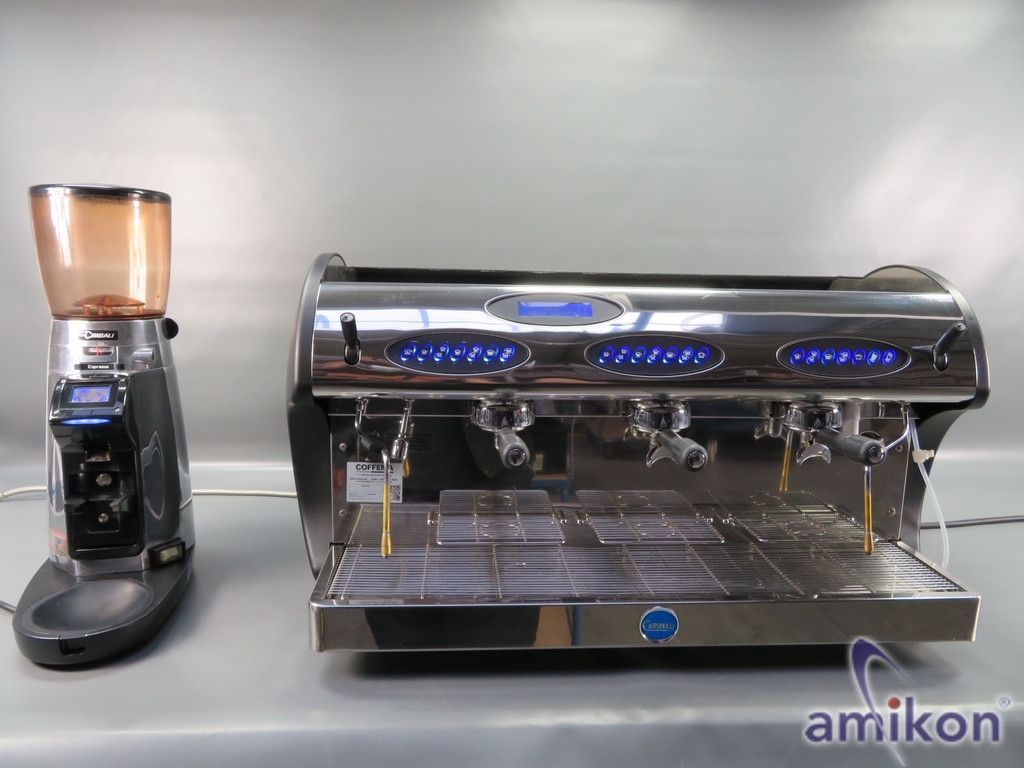 Carimali Espressomaschine Kicco 3-gruppig, Siebträger inkl. Kaffeedosiermühle