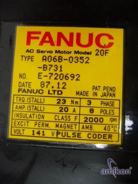 Fanuc AC Servo Motor Model 20F A06B-00352-B731  Hover