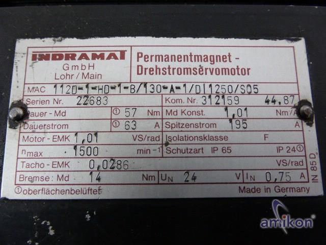 Indramat Perm. Magnet Servomotor MAC112D-1-HD-1-B/130-A-1/D 1250/S05  Hover
