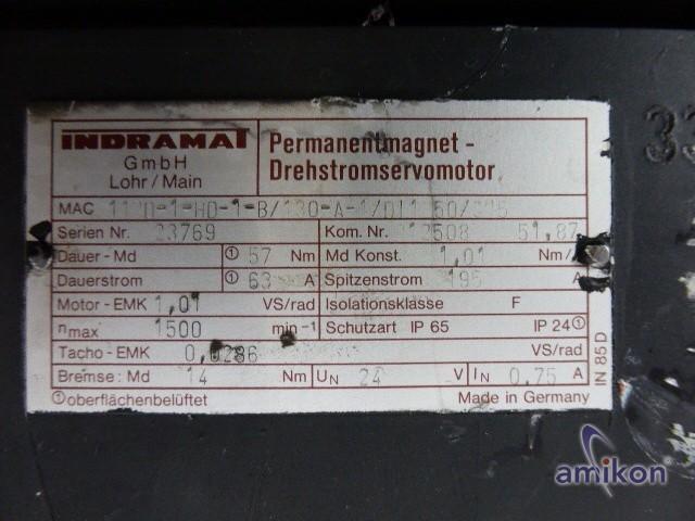 Indramat Perm. Magnet Servomotor MAC112D-1-HD-1-B/130-A-1/DJ 1250/S05 mit Lüfter  Hover