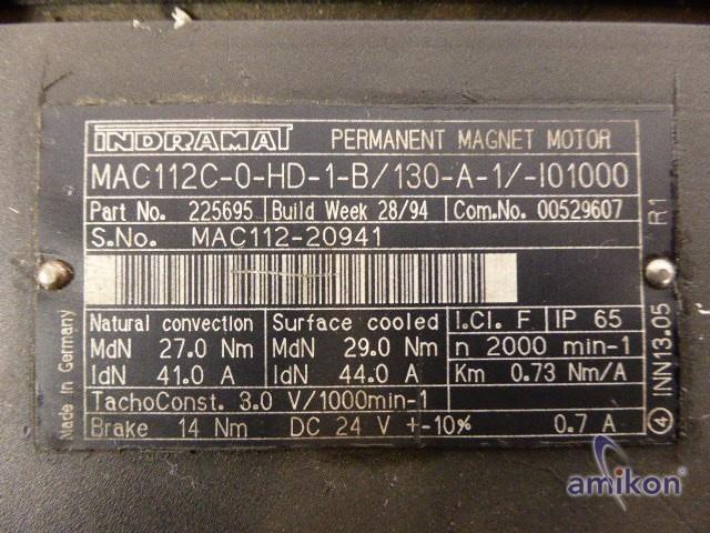 Indramat Perm. Magnet Servomotor MAC112C-0-HD-1-B/130-A-1/-I01000  Hover