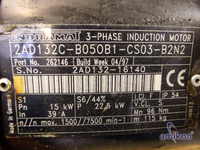 Indramat Hauptantriebsmotor/ Spindelmotor 2AD132C-B050B1-CS03-B2N2  Hover