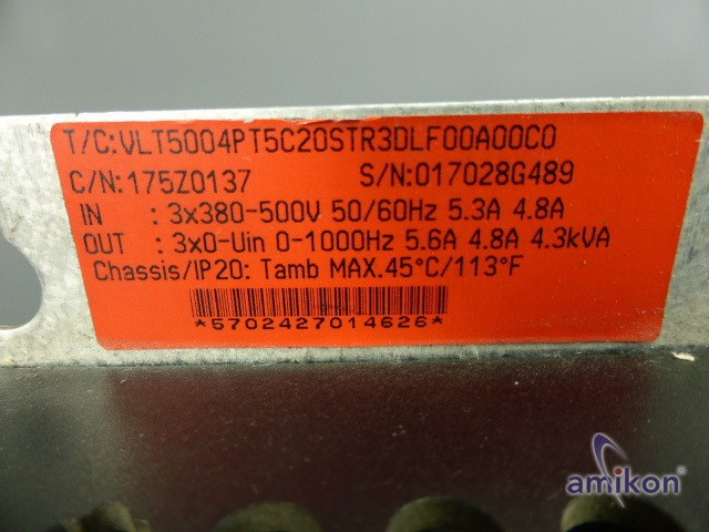 Danfoss Frequenzumrichter VLT5004 175Z0137 VLT5004PT5C20STR3DLF00A00C0 7,5 kW  Hover