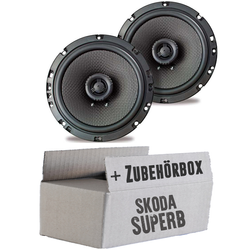 Ampire CP165 - 16cm Lautsprecher 2-Wege Koaxialsystem - Einbauset für Skoda Superb Front Heck - JUST SOUND best choice for caraudio