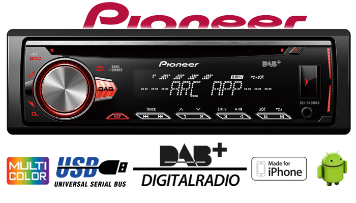 pioneer deh s400dab dab cd mp3 usb android iphone. Black Bedroom Furniture Sets. Home Design Ideas