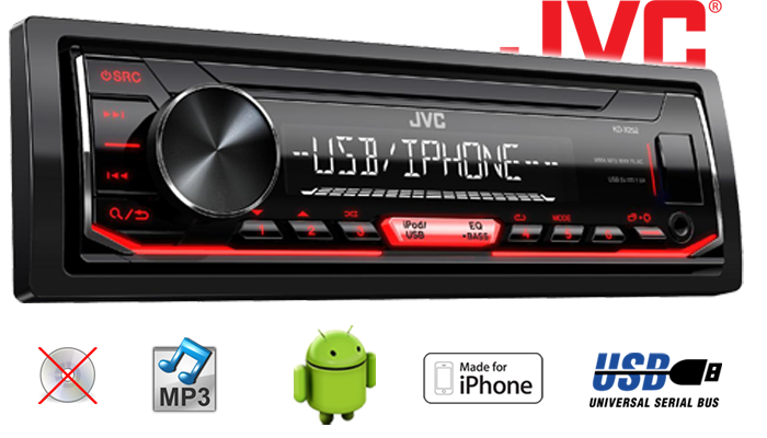 jvc kd x252 mp3 usb android iphone autoradio. Black Bedroom Furniture Sets. Home Design Ideas