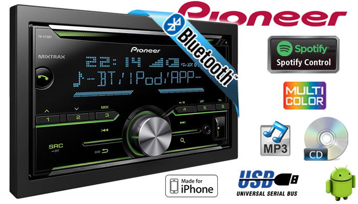pioneer fh x730bt radio 2 din bluetooth cd mp3 usb. Black Bedroom Furniture Sets. Home Design Ideas