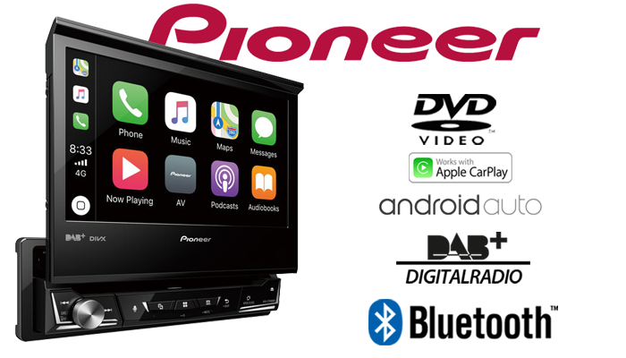 pioneer avh z7100dab 1 din moniceiver bluetooth dab. Black Bedroom Furniture Sets. Home Design Ideas