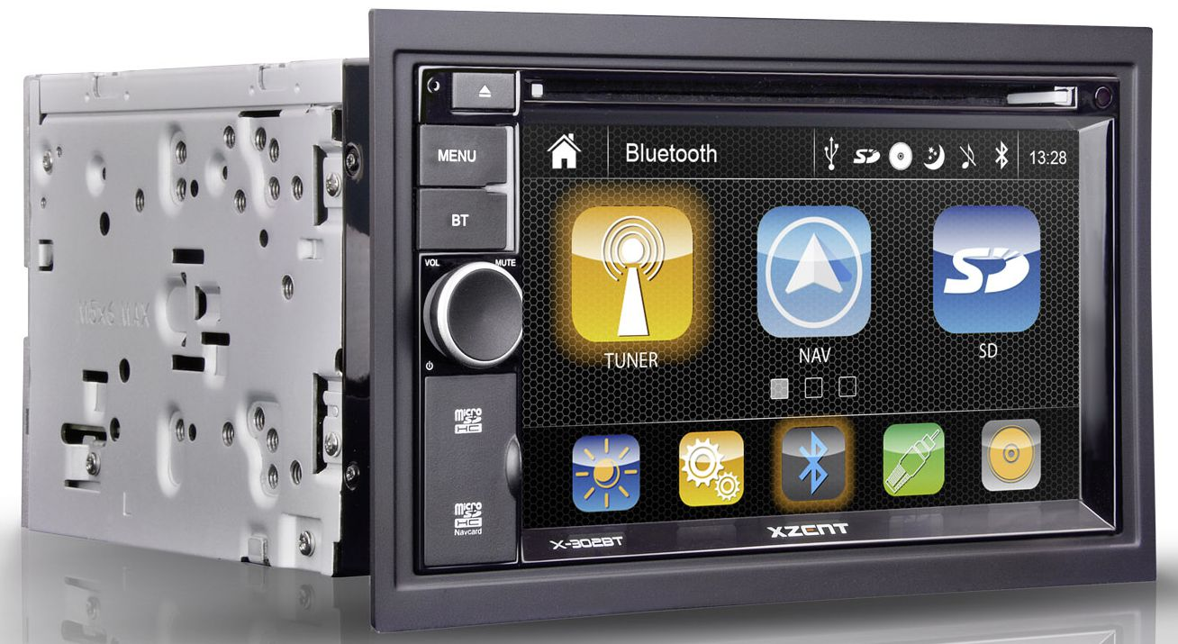 xzent x 302bt mk2 2 din navigation autoradio mit. Black Bedroom Furniture Sets. Home Design Ideas