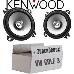 VW Golf 3 Armaturenbrett Front - Lautsprecher Boxen Kenwood KFC-S1056 - 10cm Koax Auto Einbauzubehör - Einbauset