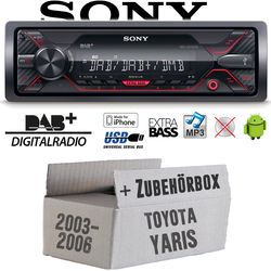 Autoradio Radio Sony DSX-A310DAB - DAB+ | MP3/USB - Einbauzubehör - Einbauset für Toyota Yaris P1 2003- JUST SOUND best choice for caraudio