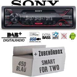 Autoradio Radio Sony DSX-A310DAB - DAB+ | MP3/USB - Einbauzubehör - Einbauset für Smart ForTwo 450 blau - JUST SOUND best choice for caraudio