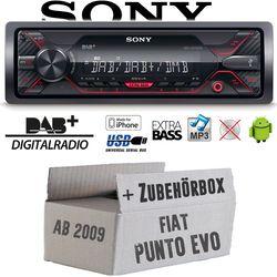 Autoradio Radio Sony DSX-A310DAB - DAB+ | MP3/USB - Einbauzubehör - Einbauset für Fiat Punto EVO / 199 - JUST SOUND best choice for caraudio