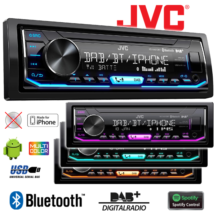 jvc kd x451dbt dab bluetooth usb android iphone. Black Bedroom Furniture Sets. Home Design Ideas