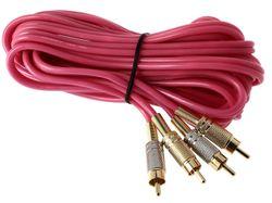 Cinchkabel Cinchkabel pink 2-Kanal 500cm 5m lang mit Metallsteckern