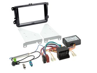 2-DIN Kit VW Klavierlack schwarz (2-DIN Blende, Radioanschlusskit inklusive Antennenadapter und CAN-Bus Interface)   Kit 4