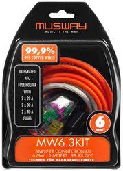 Musway MW6.3KIT -  Kabelkit VOLLKUPFER 6mm² mit Sicherung | 3m