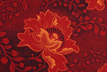 "Original Shweshwe Baumwollstoff ""Rose"" in rot, Breite 90cm – Bild 1"