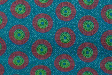 "Original Shweshwe Baumwollstoff ""Circles"" grün, in 90cm Breite – Bild 1"