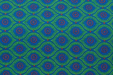 """Original Shweshwe Baumwollstoff """"Magic Eyes"""" grün, in 90cm Breite – Bild 1"""