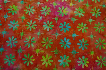 """Handgefärbte Batik aus Indonesien """"Flowers"""" COL B, 100% Baumwolle"""