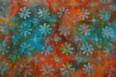 """Handgefärbte Batik aus Indonesien """"Flowers"""" COL C, 100% Baumwolle"""