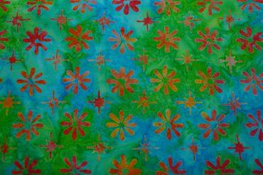 """Handgefärbte Batik aus Indonesien """"Flowers"""" COL D, 100% Baumwolle"""