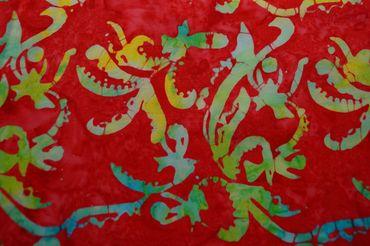 """Handgefärbte Batik aus Indonesien """"Flower Power"""" COL C, 100% Baumwolle"""