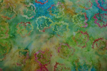 "Handgefärbte Batik aus Indonesien ""Birch Leaves"" COL B, 100% Baumwolle"