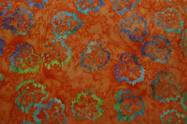 "Handgefärbte Batik aus Indonesien ""Birch Leaves"" COL C, 100% Baumwolle"