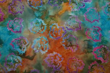 "Handgefärbte Batik aus Indonesien ""Birch Leaves"" COL D, 100% Baumwolle"