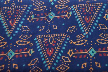 """Handbedruckter Indischer Baumwollstoff """"Pyramide"""" royalblue turquoise/gold Col C"""